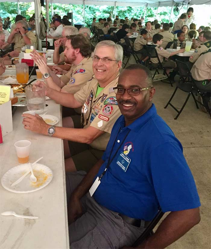 Karl with Boy Scouts in food tent